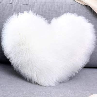 LAMEIDA Fundas de Cojín Shaggy Fundas de Almohada Mullidas en Forma de Corazón 40 * 50cm Cojines de Felpa Suave para Sofá Dormitorio Asiento de Coche (Blanco, 40 * 50cm)
