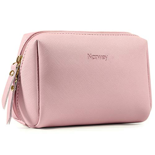 Large Vegan Leather Makeup Bag Zipper Pouch Travel Cosmetic Organizer for Women and Girls (Large, Pink)