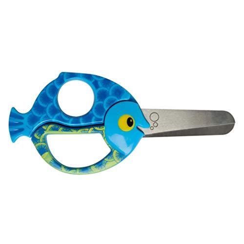 Fiskars Kinder-Tierschere mit Fischmotiv für Rechts-und Linkshänder, Blau, Länge 13 cm