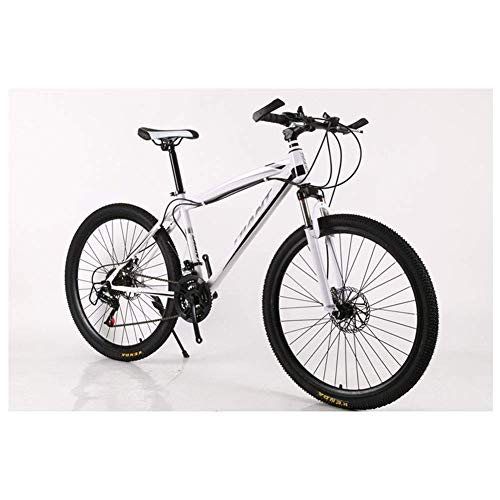 TIN-YAEN Outdoor Sports Mountain Bikes Bicycles 2130 Speeds Shimano HighCarbon Steel Frame Dual Disc Brake (Color : White, Size : 27 Speed)