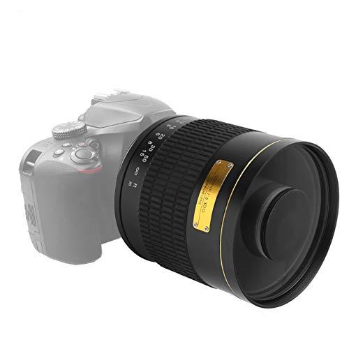 Tele Spiegelobjektiv, 500 mm F6.3 Teleobjektiv Legierung Optisches Glas Manuelle Fokussierungskamera Spiegelobjektiv für Nikon AI Mount SLR-Kamera(schwarz)