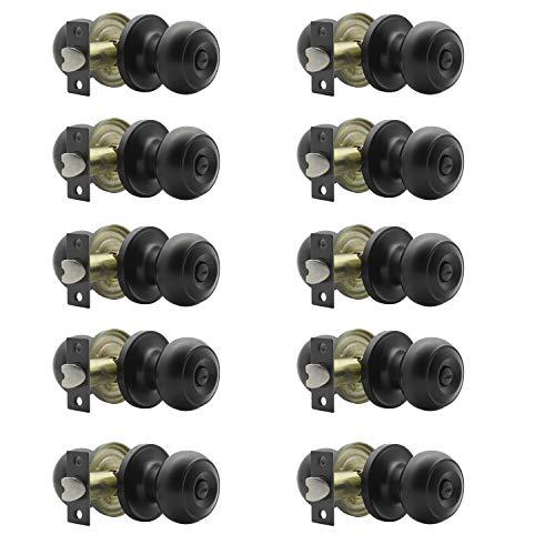 Probrico (10 Pack) Round Privacy Door Knob(Thumb Turn Lock on The Inside), Keyless Doorknobs Interior/Exterior Lockset,Privacy Knobs for Bedroom/Bathroom,Black Modern Design Door Hardware