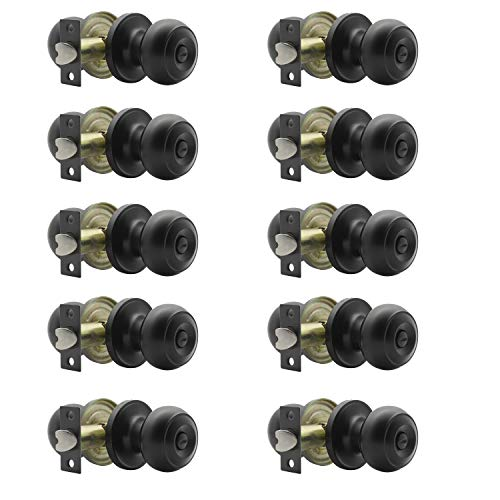 Probrico (10 Pack) Round Privacy Door Knob(Thumb Turn Lock on The Inside), Keyless Doorknobs Interior/Exterior Lockset,Privacy Knobs for Bedroom/Bathroom,Black Modern Design Door Hardware
