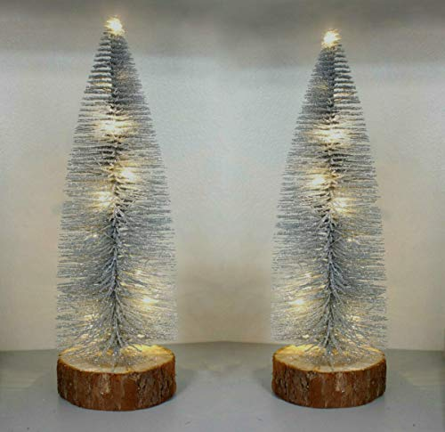 HomeZone Christmas LED Mini Trees Festive Home Decor Lighting Indoor Decorations Free Standing Ornaments Battery Operated Xmas Fir Trees Light Snow Glitter (20cm Silver x 2)