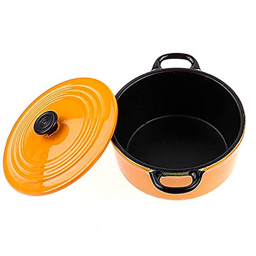 WUIUN Mini Cooking Pots Pan with Lid, 1:12 Miniature Pretend Kitchen Accessories Tiny Utensils Cooking Sets for Tiny Food(Yellow)