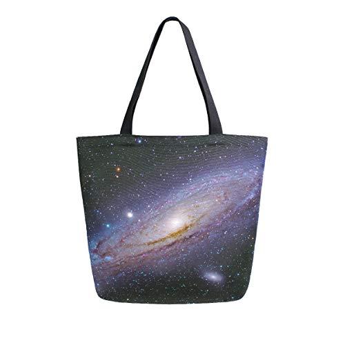 RXYY Universe Galaxy Planet Bolsa de lona resistente para mujer grande, casual, bolsa de hombro reutilizable para compras de comestibles para viajes al aire libre