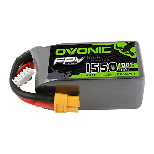 OVONIC FPV Batteria Lipo 4S 1550mAh 100C 14.8V Lipo con connettore XT60 per FPV Quadcopter Racing RC Heli RC Airplane FRC Quadcopter Drone DIY Hobby