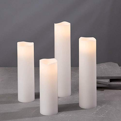 Flameless Candle Set, 2 Inch Diameter - Battery Operated, 4 Pack, Slim Pillar Candles, Flickering LED, Spring Decor, White Wax - Batteries & Remote Control Included…