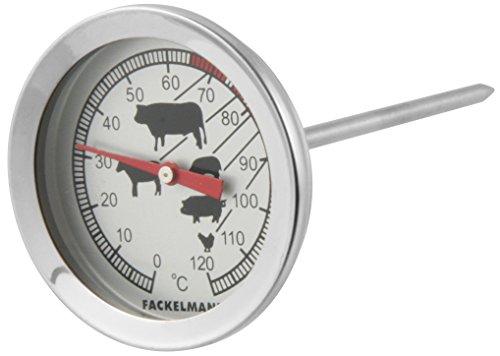 Fackelmann asados, termómetro para Alimentos, Acero Inoxidable, ø5,2x11,5cm