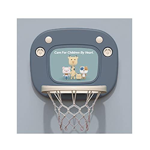 Tablero de Baloncesto Aro de Baloncesto Plegable y fácil de almacenar, no Hay Necesidad de Golpear los Agujeros en la Ventosa de los niños en el aro de Baloncesto Interior (Color : Blue)