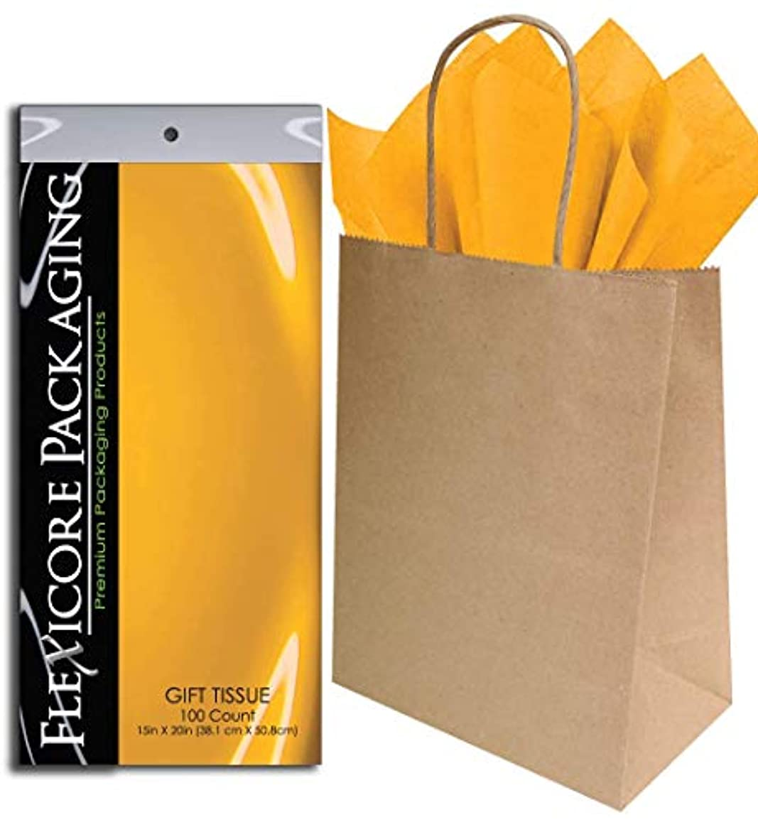 Flexicore Packaging? 50ct Natural Brown Kraft Paper Gift Bags + 100ct Gift Tissue Paper (Goldenrod Yellow)