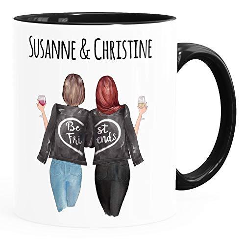 SpecialMe® Tasse beste Freundin personalisierbar, anpassbares Geschenk Freundschaft Best Friends 2 Seiten Inner-Schwarz Keramik-Tasse