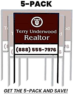 5-Pack Econo 24x18 Iron Real Estate Sign Frame with Rider