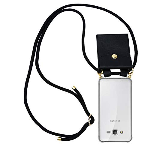 Cadorabo Handy Kette für Samsung Galaxy Grand Prime in SCHWARZ - Silikon Necklace Umhänge Hülle mit Gold Ringen, Kordel Band Schnur und abnehmbarem Etui – Schutzhülle