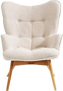 Kare Design Sessel Vicky, gemütlicher Loungesessel mit Armlehne, TV-Sessel mit hellem Holzgestell, (HxBxT) 94x73x83cm, weiß