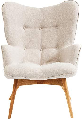 Kare Design Sessel Vicky, gemütlicher Loungesessel mit Armlehne, TV-Sessel mit hellem Holzgestell, (H/B/T) 92 x 59 x 63 cm, weiß