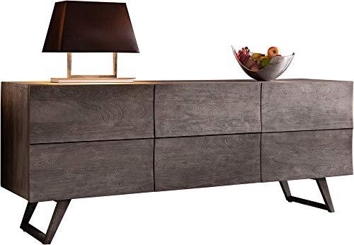 DELIFE Designer-Sideboard Wyatt 177 cm Akazie Platin 2 Türen