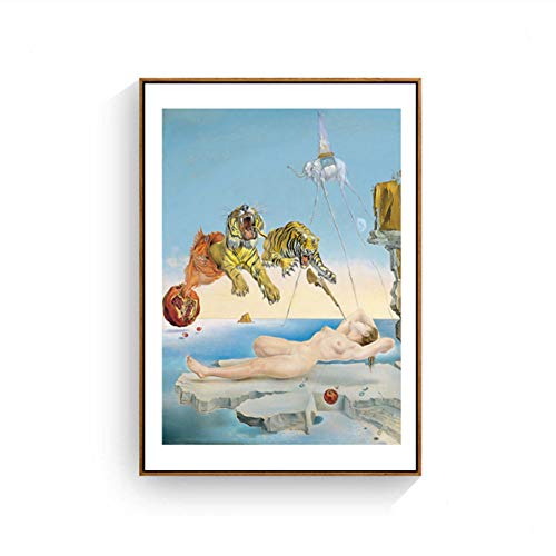Suuyar Salvador Dali Tiger, Elefant, Mädchen Leinwand Malerei Surrealismus Abstrakte Kunst Wandbilder Drucken Für Wohnzimmer-50x75 cm Kein Rahmen