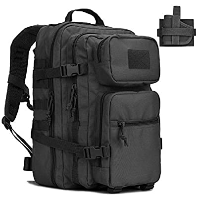 Military Tactical Backpack w/Gun Holster Small Assault Pack Army Bug Bag Backpacks Rucksacks Range Bags for Outdoor Hiking Camping Trekking Hunting Black