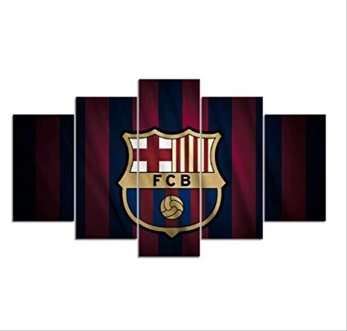 DPFRY Cuadros De Lienzo Creative FC Barcelona Flag Deportes Carteles De Pared Fútbol Impresiones De Arte Imágenes Niños Dormitorio Decoración 5 Piezas 150X100Cm Sin Marco