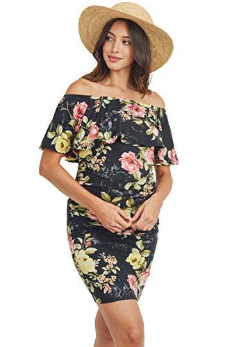 Hello MIZ Women's Floral Ruffle Off Shoulder Maternity Dress – Made in USA