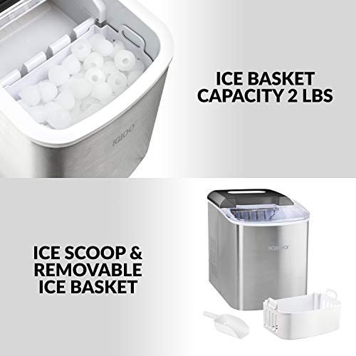 Igloo ICEB26SS Automatic Portable Electric Countertop Ice Maker Machine, 26 Pounds in 24 Hours, 9 Ice Cubes Ready in 7 minutes, With Ice Scoop and Basket, Perfect for Water Bottles, Stainless Steel