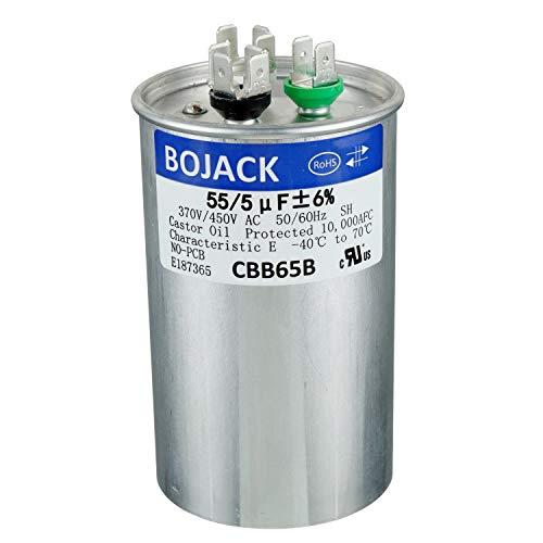 BOJACK 55+5uF 55/5MFD ±5% 370V/440V CBB65 Dual Run Circular Start Capacitor for AC Motor Run or Fan Start or Condenser Straight