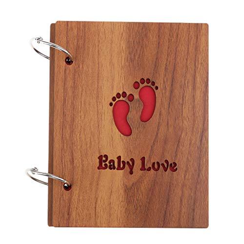 IPOTCH Holzdeckel Fotoalbum zum Selbstgestalten, 30 Schwarze Seiten (15 Blatt) Fotoalben Scrapbook zum Einkleben, Vintage Fotobuch DIY - Baby Liebe