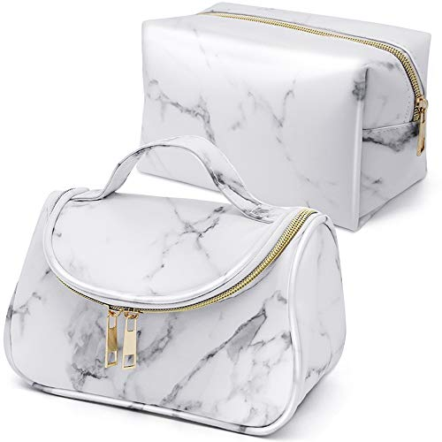 Marble Makeup Toiletry Bag Brush Pouch Waterproof Organizers Travel Cosmetic Case Portable Makeup Bag Storage Case for Women (2 Pcs)