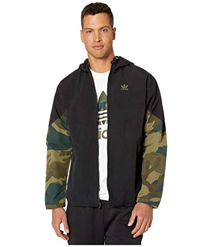 adidas Originals Men's Camo Windbreaker, Black/Multicolor, 2XL