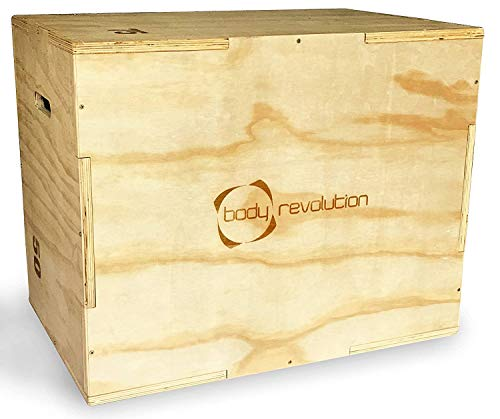 """Body Revolution Wooden Plyo Box - 3in1 Heights - 50cm, 60cm and 75cm (20"""" x 24"""" x 30"""") - Plyometric Jump Box for Fitness, HIIT, Strength and Calisthenic workouts"""