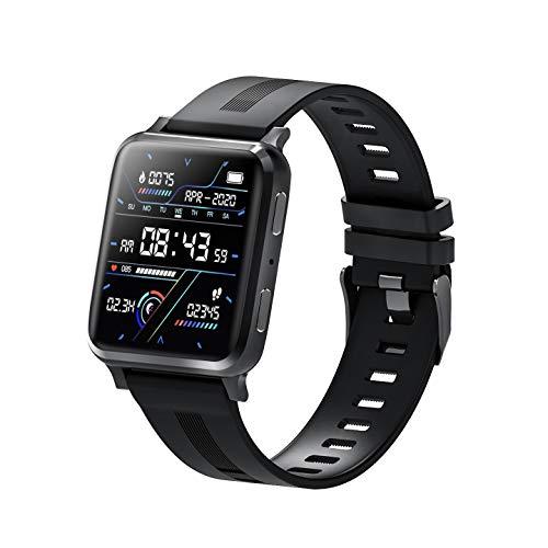 KUKU Reloj Inteligente, Monitor de Ritmo cardíaco, Reloj Digital Impermeable IP67, Reloj de Fitness para Mujeres para Hombres con podómetro Calorie Sleep Tracker,Negro