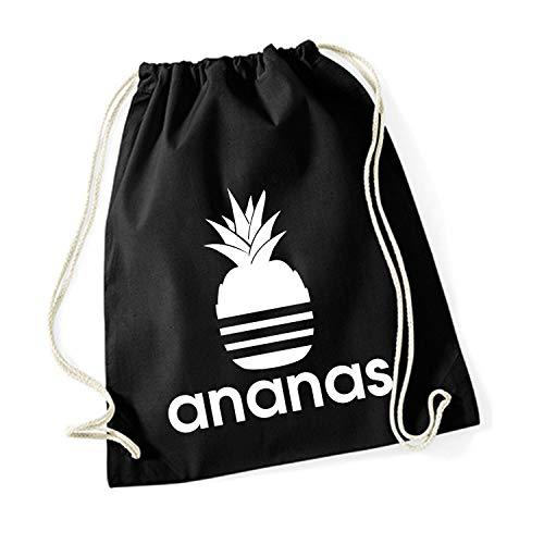 Shirt-Panda Turnbeutel mit Ananas Motiv Hipster Sport Jute Tasche Gym Bag Spruch Baumwolle Schwarz (Druck Weiß)