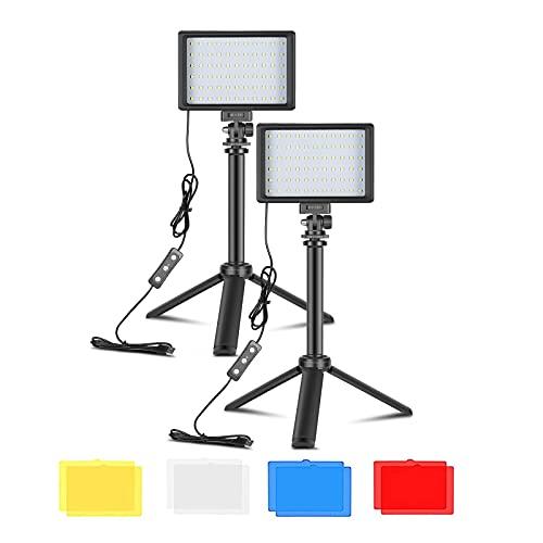 Bonvvie Luz LED de Video Fotografia 2-Pack, Luz de Cámara Regulable USB con Trípode Ajustable y Filtros de Color para Tomas de ángulo Bajo, Iluminación de Videoconferencia (100cm)
