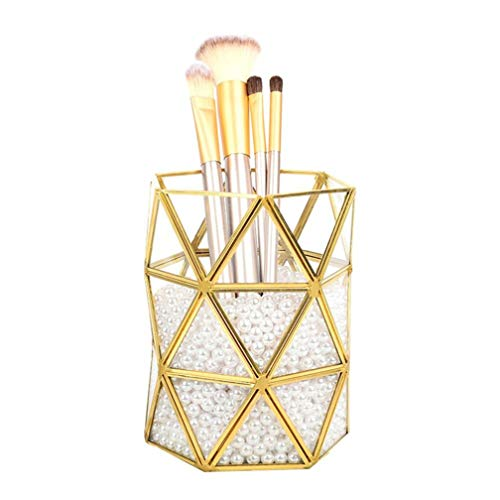 YunNasi - Support pour pinceaux de maquillage en verre avec des perles blanches - Pour coiffeuse et salle de bain, Taille M