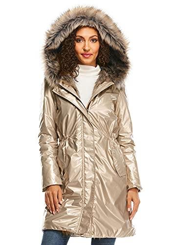 Bronze Glam Squad Faux Fur-Trimmed Storm Coat (M) (Bronze)
