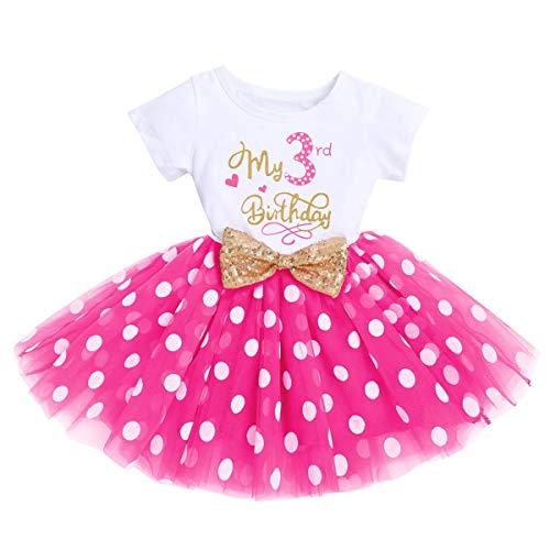 FYMNSI - Vestito da bambina 1° / 2° / 3° compleanno, in cotone, a maniche corte, tutù in tulle, linea A Rose Mein 3° compleanno (solo) 3 Anni