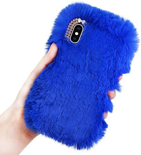Jorisa Peluche Coque Compatible avec Samsung Galaxy S7 Edge,Etui Fashion Hiver Chaud Filles Style Arrière Cover,Peau Antichoc Douce et Moelleuse,Coque Faux Fourrure Briller Diamant,Bleu