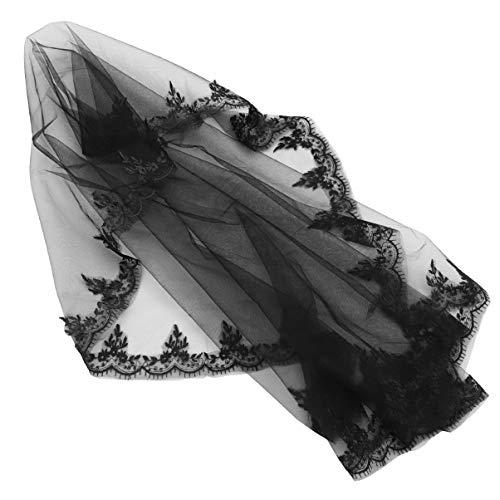 FRCOLOR Véu de Malha de Halloween Tule Véu Preto de Noiva Vestido de Fantasia Véu Misterioso Toucador Cocar Foto Adereço para Festa de Máscaras de Cosplay de Halloween