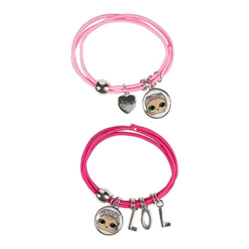 L.O.L. Surprise ! Bracelet With Charms For Girls Featuring Her Favourite Lol Dolls | Set Of 2 Pink Elasticated Bracelets For Children | Kids Jewellery, Friendship Bracelets, Surprise Selection