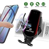 Car Phone Holder with QI Wireless Fast Charging Infrared Smart Sensor Auto Clamping