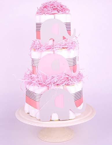 PureNappyCakes Pastel de pañales con diseño de elefante gris (rosa)