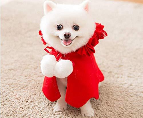 Capa Ropa de Navidad para Perros Gatos, Papa Noel Disfraces Disfraz Sudadera Capucha Chaqueta Camisas Poncho Lindas de Navidad para Cachorro Perro Mascota Pequeño (L)