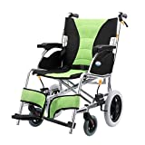 BINZHI Aluminum Light Transport Wheelchair with 17-inch Wide Seat Foldable for Transport and Storage of 11-inch Rear Wheels for Smoother Travel for The Elderly Wheelchair (Color : Green)