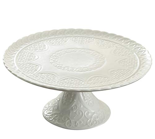 Jusalpha 12 Inches White Porcelain Decorative Cake Stand-Cupcake Stand, CS01 (Stand only, no dome)