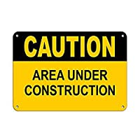 Caution Area Under Construction Construction 注意看板メタル安全標識壁パネル注意マー表示パネル金属板のブリキ看板情報サイン