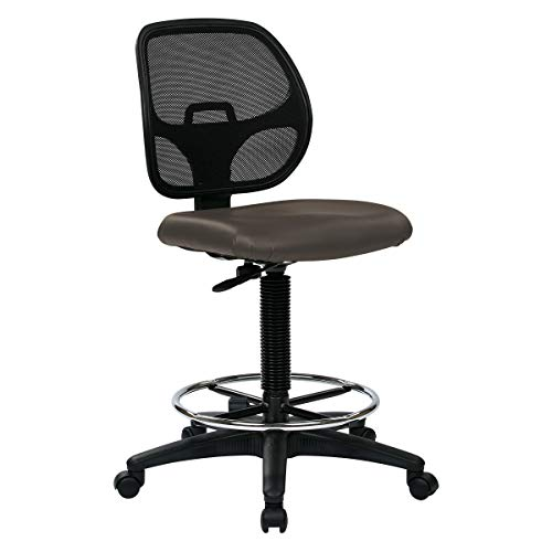 """Office Star Deluxe Custom Drafting Chair with 18"""" Diameter Foot Ring, Seat, Pneumatic Height Adjustment 24.25"""" to 33.75"""", Dillon Graphite Fabric"""