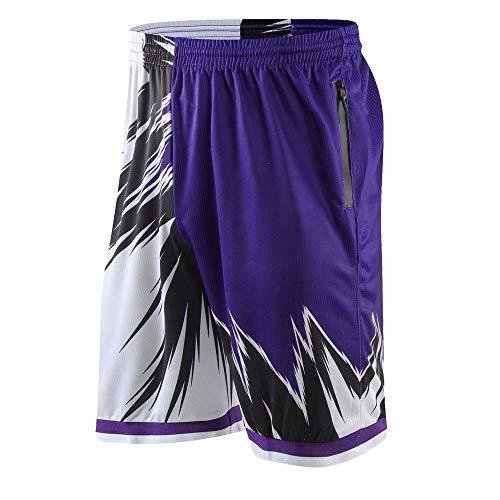 Auyz Mens Boys Youth Basketball Shorts Lightweight Athletic Workout Shorts with Zipper Pockets Drawstrings-CF300#Purple-2XL