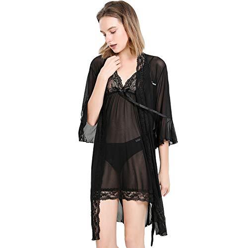 Sidiou Group Nacht Robe Damen Kimono Morgenmantel Satin Kimono Robe Kurz Bademantel Frauen Schlafanzug Nachtwäsche Satin Nachthemd (S, 3 Stück Set-schwarz)