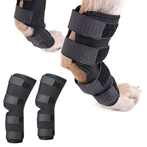 Zunea Protector de pierna trasera para perro canino, 2 unidades, protector de pierna y soporte adicional, manga de compresión para lesiones de heridas y esguinces de artritis (negro, L)